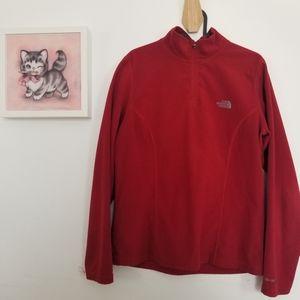 The North Face Red 1/4 zip fleece